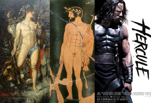 """Montage de trois oeuvres montrant le héros Héraclès debout : """"Hercule et l'hydre de Lerne"""" de Gustave Moreau, un vase attique (Héraclès et les Argonautes, cratère en calice attique, Orvieto, 460-450, peintre des Niobides, face A, Louvre G 341 ) et une affiche du film """"Hercule"""" de Brett Ratner sorti en 2014."""